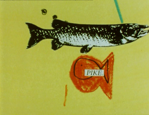 drawing of a two fish, one which appears to be drawn by a child with the typed word PIKE accross it