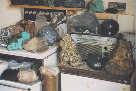 geological samples in a kitchen