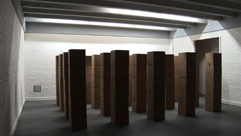 Cardboard boxes stacked in formation